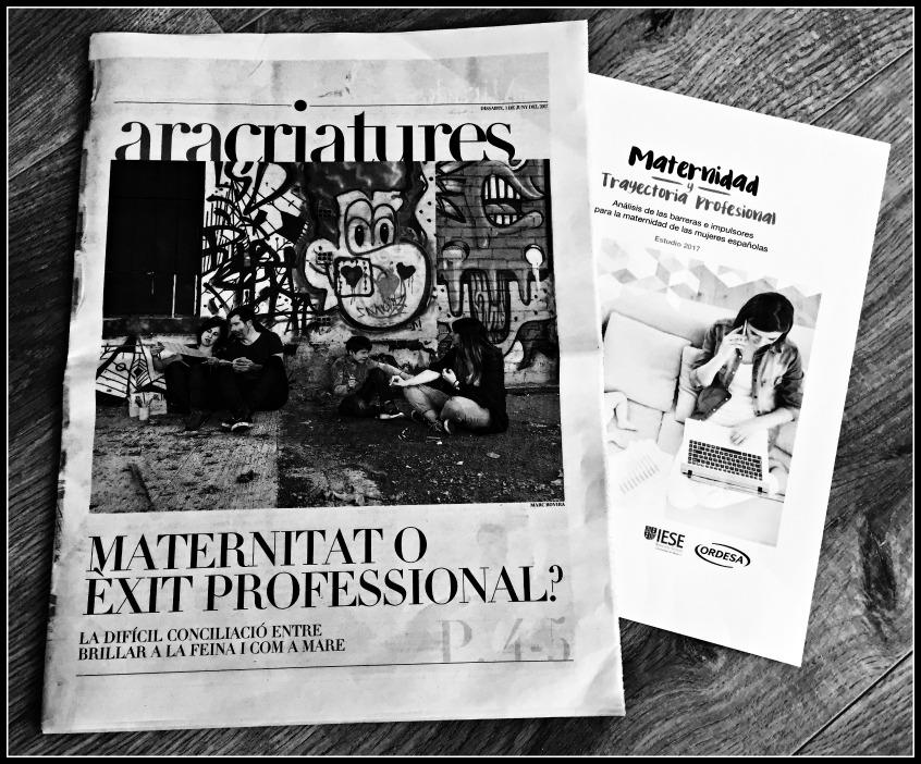 Alt_ Imagen de las portadas del suplemento Criaturas del Ara y del estudio Maternidad y Trayectoria Profesional de IESE y Ordesa sobre conciliación