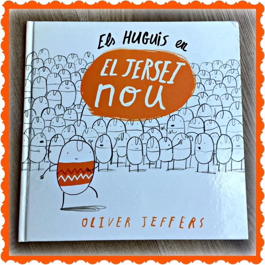 Alt_Portada del libro Els Huguis en el Jersei Nou de Oliver Jeffers y publicado por Andana Editorial