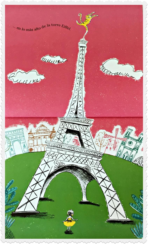 "Alt_ Imagen ilustrada de la Tour Eiffel del interior del libro ""Un tigre con tutú"""