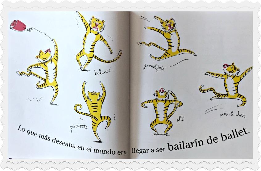 Alt_ Imagen del tigre Max mostrando su perseverancia y pasión por ser bailarín.