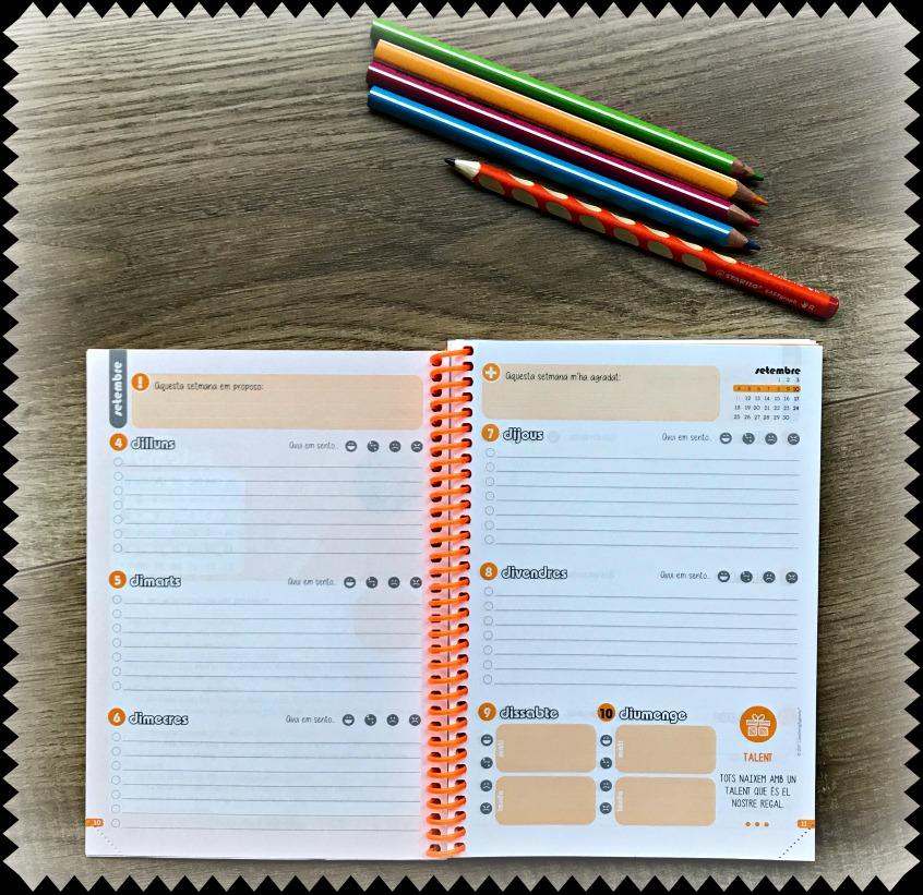 Alt_imagen de una de las páginas a semana vista de la agenda escolar Rinbow